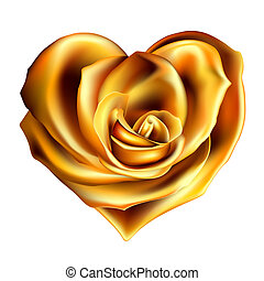 gold rose heart - gold valentine heart made with rose flower