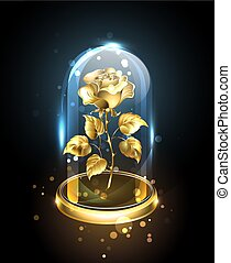 Gold rose under a glass dome