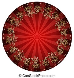 gold roses frame on bright red round background - vector
