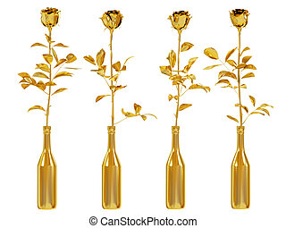 Gold roses set isolated on white background.