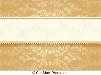 Gold roses with background. Vector illustration 10eps