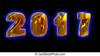 gold rotating numbers 2017 changing to symbols 2018, on a...