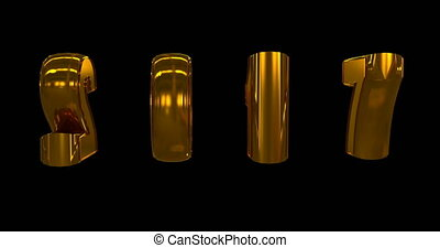 gold rotating numbers 2017, on a black background, alpha...