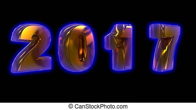 gold rotating numbers 2017, on a black background, video...