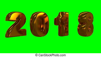 gold rotating numbers 2018, hromakey, video loop - gold...