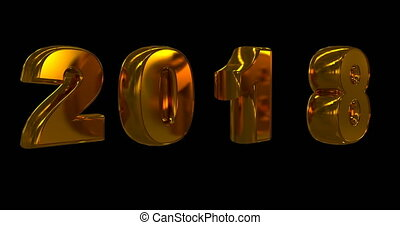 gold rotating numbers 2018, on a black background, video loop