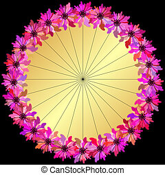 Gold round floral frame