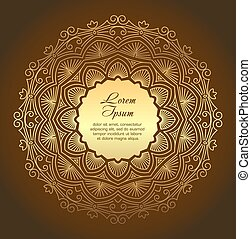 Gold round lace design with copyspace - mandala on a dark background.