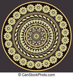 Gold round vintage pattern