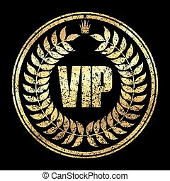 Gold round VIP grunge style rubber stamp icon with crown and leaves on a black background.