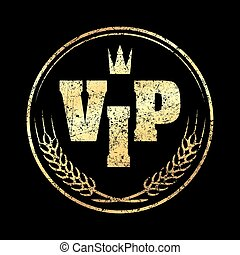 Gold round VIP grunge style rubber stamp icon with crown and spikes on a black background.