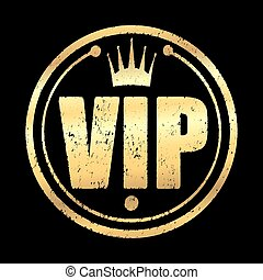 Gold round VIP grunge style rubber stamp icon with crown on a black background.