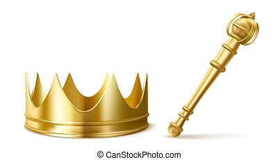 Gold royal crown and scepter for king or queen. Vector ...