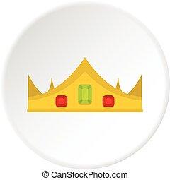 Gold royal crown icon circle