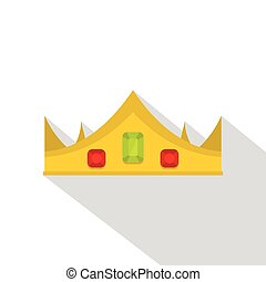 Gold royal crown icon, flat style