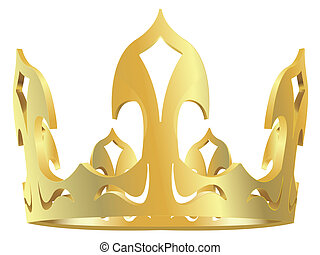 Gold royal crown in a vector isolated on a white background
