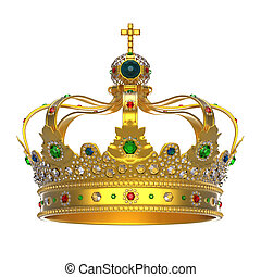 Gold Royal Crown with Jewels isolated on white background. 3d render