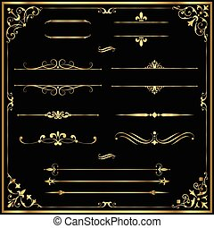 Gold Rule Lines and Ornaments - Set of vector text dividers...