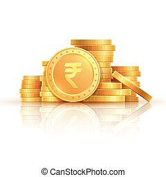 Gold rupee coins. Indian money, stacked golden coins. Rupee cash, isolated on white background vector icons