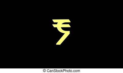 Gold rupee sign isolated on alpha channel