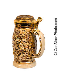 Gold Rush Stein - A traditional beer stein depicting the ...
