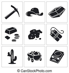 Gold rush Vector Icons Set - gold mining Vector Isolated ...