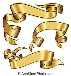 gold, sammlung, geschenkband
