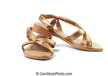 gold, sandals