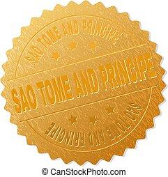 Gold SAO TOME AND PRINCIPE Medallion Stamp - SAO TOME AND...