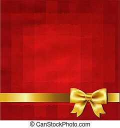 Gold Satin Bow And Red Vintage Background With Gradient...
