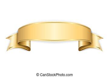 Gold satin empty ribbon. Golden blank banner. Design ...