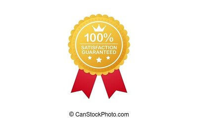 Gold Satisfaction Guarantee Emblem Seal. Medal Label Icon Seal Sign Isolated on White Background. Motion graphics.