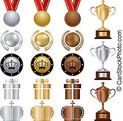 gold, satz, auszeichnungen, silber, bronze