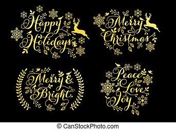 gold, satz, weihnachtskarten, verzierungen, vektor