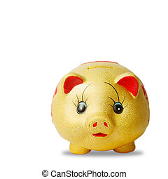 Gold  saving pig isolated with clipping path.