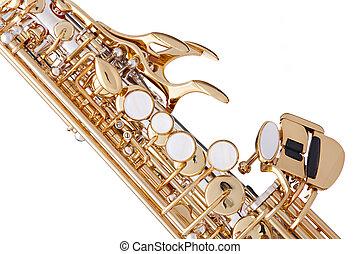 Gold Saxophone Isolated on White