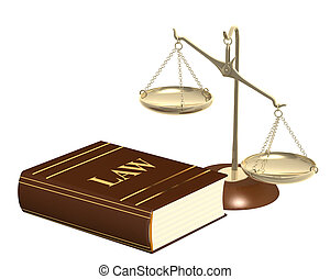 Gold scales and code of laws. Objects isolated over white