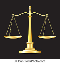 gold scales icon - gold scales on black background. vector...