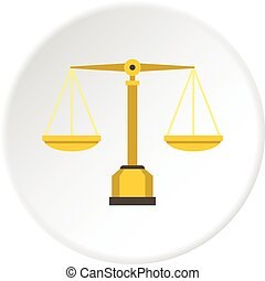 Gold scales of justice icon circle - Gold scales of justice...