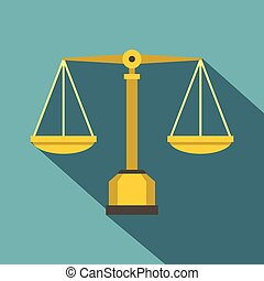 Gold scales of justice icon, flat style