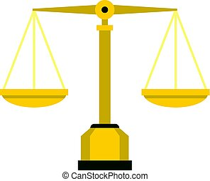 Gold scales of justice icon isolated - Gold scales of...