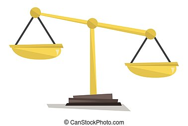 Gold scales of justice vector illustration. - Gold scales of...