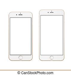 gold, schablone, iphone, apfel, plus, 6s, mockup