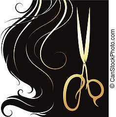 Gold scissors and hair curls