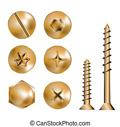 gold screw heads - Six Screws and heads, vector illustration