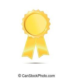 Gold Seal Award Ribbon on white bac