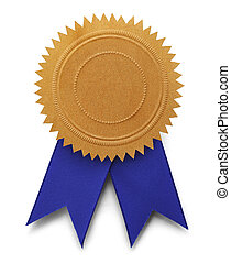Gold Seal Blue Ribbon - Gold Embossed Seal with Copy Space...