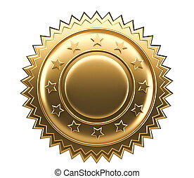 Gold seal - Golden guarantee seal isolated on white - 3d...