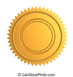 Golden guarantee seal isolated on white - 3d render
