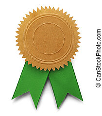 Gold Embossed Seal with Copy Space and Green Ribbons Isolated on White Background.